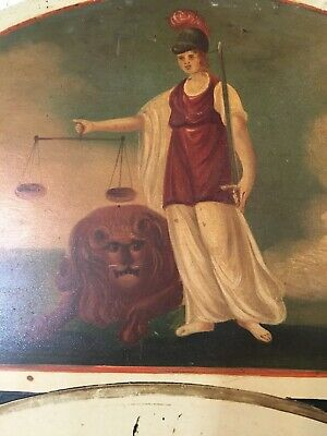 Beautiful Antique Grandfather Clock Dial Hand Painted Lady Of Justice W/ Lion 4