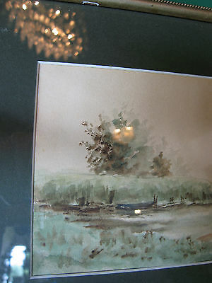Vintage Antique Early to Mid 20th Cent. Eva West Signed Watercolor of Landscape 2