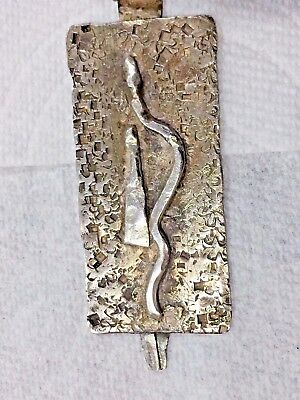 Antique Pre Columbian Jade & Silver Necklace Pendant Snag Design 10