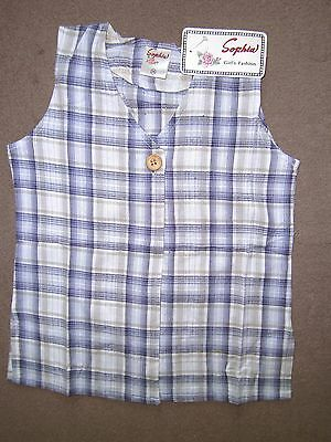 Kids Girl Sophia Blue/navy Check Linen Waistcoat Smock Top 10-14 Years,cotton