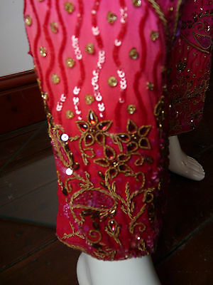 Asian Wedding Cerise Pink & Red Trouser Suit With Scarf   M   Ret £350   Bnwt 6