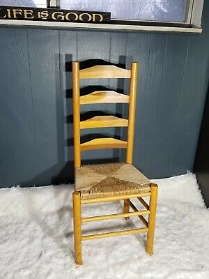 Antique Shaker Style Ladder Back Accent Chair Woven Seat (2 available) 8