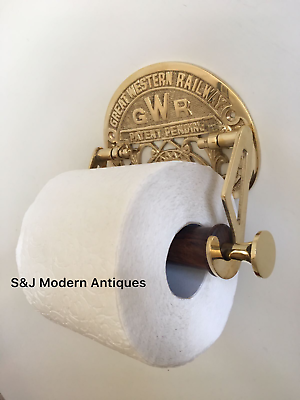 Victorian Toilet Roll Holder Gold Brass Unusual Novelty GWR Vintage Ornate Old 10