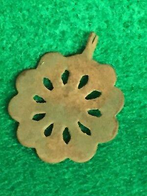Ancient Roman Jewelry, Byzantine bronze pendant Flower Head Shaped 4