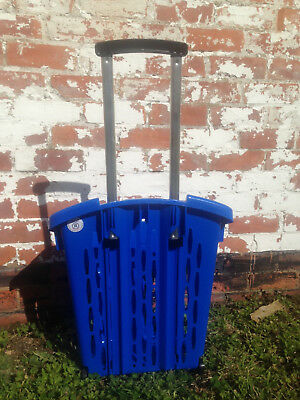 Value Plastic Shopping Trolley Basket (38L) Blue. On Wheels Castors. 2