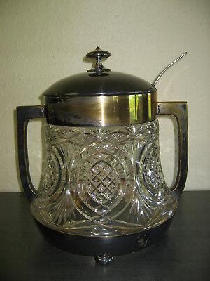 Original alte Bowle, Glas, Messing versilbert mit Bowlelöffel, 36 cm hoch 11