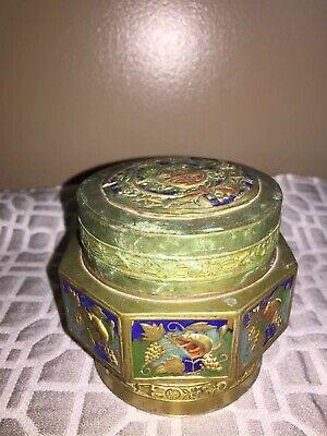 Antique Asian Brass Enameled Lidded Canister Jar 2