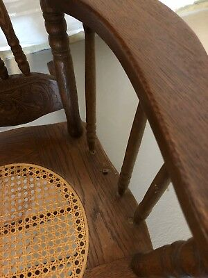 ANTIQUE VICTORIAN oak pressed back rocking chair with cane seat!  BEAUTIFUL!! 6