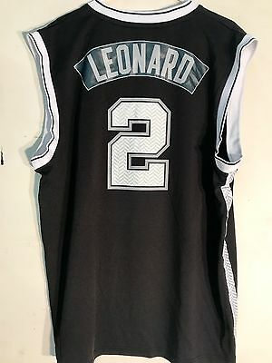 f90f42cfa99f 1 of 2 Adidas NBA Jersey San Antonio Spurs Kawhi Leonard Black Alt sz L