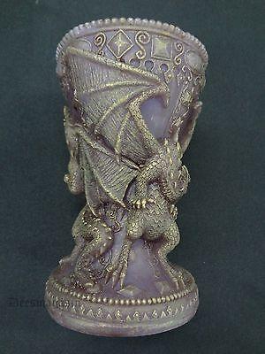 Mythical DRAGON Chalice Pillar Candle Fantasy Medieval Tealight By Steve Kehrli