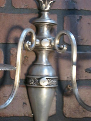 Vintage Antique Pair Wall Sconces Silver Plate 2 Arm Wall Lights 10