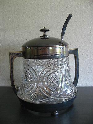 Original alte Bowle, Glas, Messing versilbert mit Bowlelöffel, 36 cm hoch 7