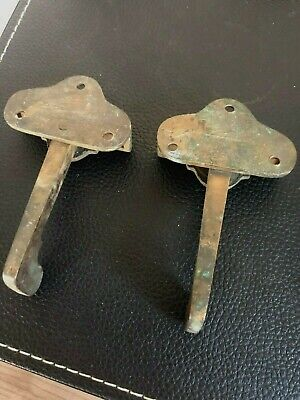 Antique 1900s Cast Brass Victorian Window Sash Lock Latch (2) Rotating Arms 4