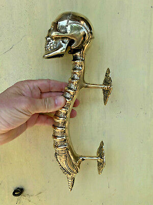 """2 LARGE SKULL handle DOOR PULL spine BRASS old style polished  plate 13"""" long 3"""
