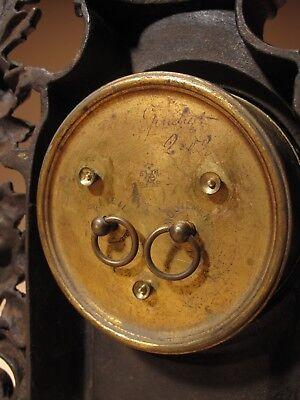 Rare Old Brown Colour Gild Cast iron Alarm mantel Clock Circa: 1890-1900 4