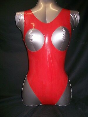 Red Fetish Bondage Rubber Latex Swimsuit Boobless 3140 Sexy Catsuit Suspenders 3