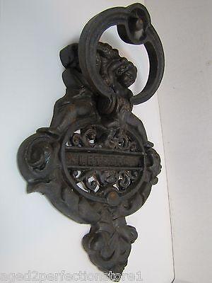 Vintage Cast Iron Figural Door Knocker Letters Mail Slot lrg ornate art nouveau 8