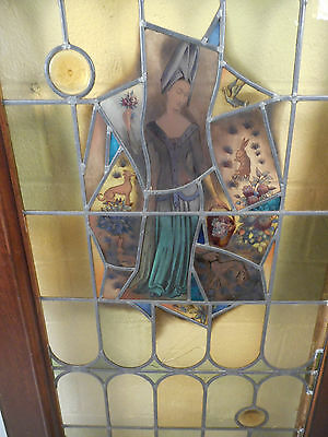 Tall Antique Vintage Stained Glass Art Door (1453)NJ 3