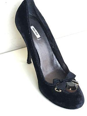 MIU MIU Vintage Classic Black Velvet Jeweled Bow High Heel