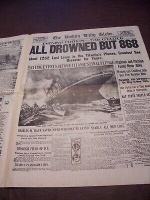 TITANIC NEWSPAPER 1912 Boston Globe/Marsh Murder Story/Ty Cobb Quits Team  !!!!! 5