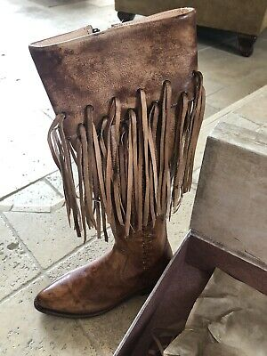 New in Box $365 Bed Stu Hoplia Fringe Trim Tan Leather Riding Boot Size 6.5