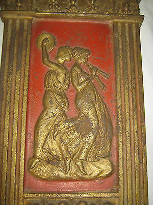 Antique Cast Iron Art Nouveau Nude Lady Bust Movie Theater Plaque Garden Panel 2