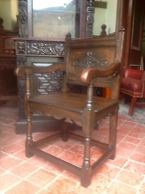 Splendid 17th century lozenge carved oak Wainscot armchair Anglesey North Wales 2