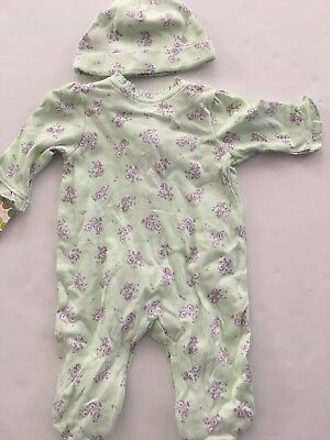 Little Me Baby Girls Coverall Hat Outfit Size 3 6 9 Months White Blue Butterfly
