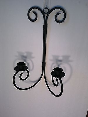 Decorative Wrought Iron Black Dual Candleholder Hanging Wall Sconce Set of Two 5