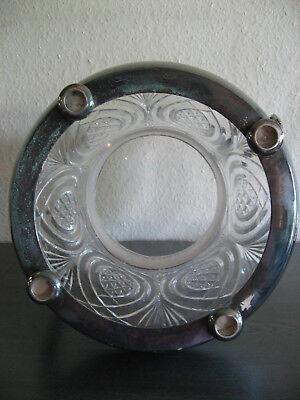 Original alte Bowle, Glas, Messing versilbert mit Bowlelöffel, 36 cm hoch 5