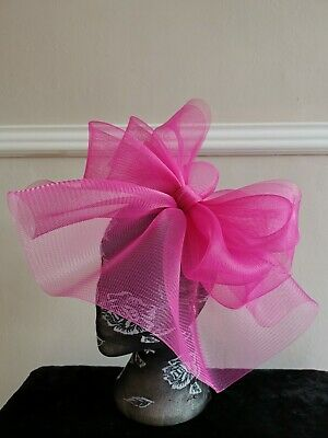 cerise hot pink fascinator millinery burlesque headband wedding hat hair piece 2
