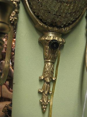 Extra Ordinary Pair Of 2 Lights Bronze Sconces With Crystals 3
