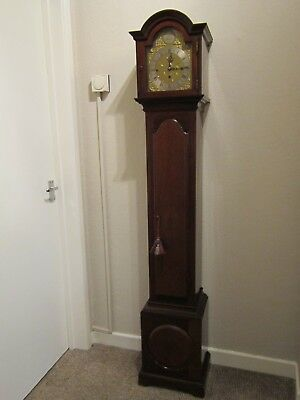 Edwardian period three train weight driven 1/4 striking grandmother clock. 12