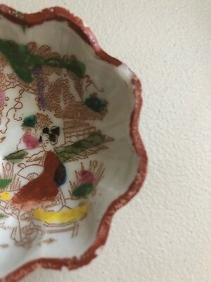 Antique Porcelain Japan Geisha Girl Tea Bag Bowl Hand Painted Footed Scalloped 2