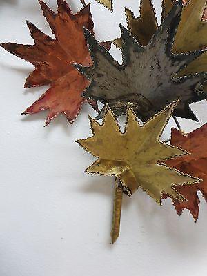 Vintage Mid Century Metal Leaf Leaves Wall Sculpture 5