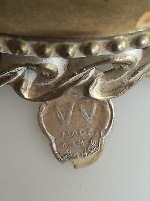 Vintage Frosted Glass VV France Hanging Lamp Light Gold Leaf Bronze Retro Decor 5