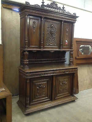 Carved Victorian Walnut Flemish Buffet Bookcase Bacchus Dresser GreenManPussyOak 7
