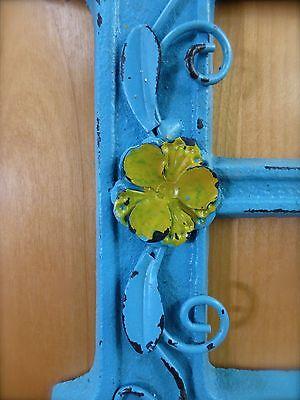 "BLUE CAST IRON WALL LETTER ""E"" 6.5"" TALL rustic vintage decor sign barn nursery 4"