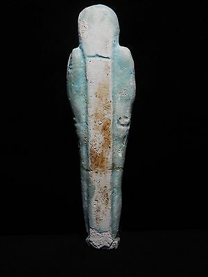 "Zurqieh - Ancient Egypt,huge Inscribed With Hieroglephs ,faience Shabti , 6 1/2"" 4"