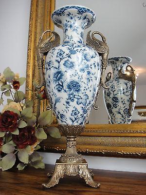 Porzellan Bronze Blumenvase Jugendstil Luxus Prunk Vase Antik Edel Pokal Amphore 3