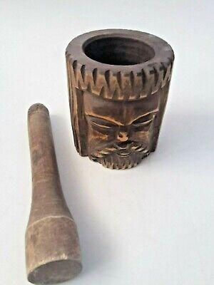 toller seltener Holz Mörser Apotheke antiker Stößel Pistill mit Gesicht RaR 2