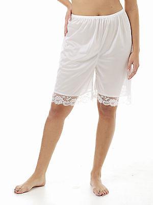"""Pettipants 21/""""  3X  White 2/"""" Lace. Nylon Culotte Slip"""