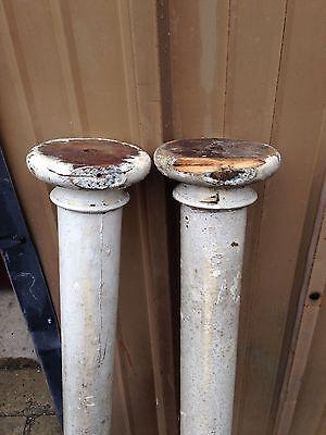 One Pair Oak Antique Columns Painted Cm 44 3