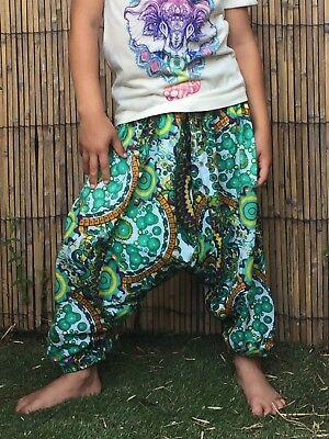 Childrens kids girls boys harem pants baggy hippie hippy boho trousers 1-7 years 3