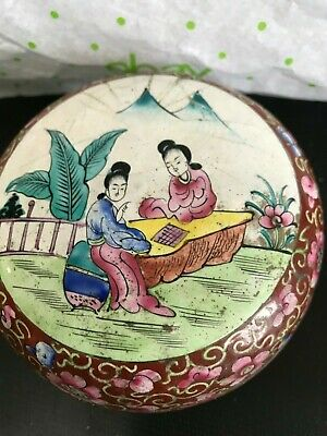 COPPER LIDDED ROUND BOX--CLOISONNE-CHINA 1970-------------------------------jor 2