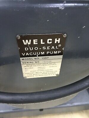 WELCH DUO-SEAL Vacuum Pump Model 1397 W/ Baldor Motor L3510 AWD-D-2-8-001 9