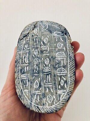 Large Antique Hand Carved Granite Stone Egyptian Hieroglyphs Scarab Beetle Egypt 5