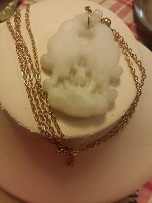 Antique Chinese beautiful white Jade Love Birds, h/c  Pendent w/gold clad chain. 12