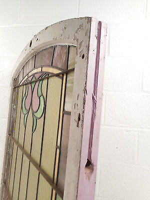 Vintage Arched Stained Glass Window Panel (2989)NJ