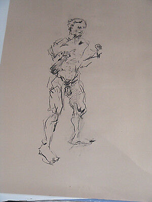 Figure life drawing nude expressive charcoal / paper, man standing, A1 size @ 4